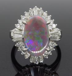 Ballerina Style Gray Opal and Diamond Ring