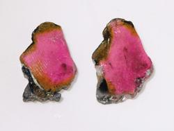 Colorful Natural Watermelon Slice Pair - 14.05 cts.