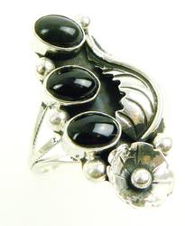 Vintage N.A. Indian Black Onyx Ring, Size 6