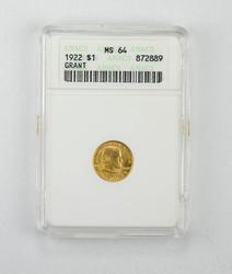 MS64 1922 Grant Memorial Commemorative Gold Dollar - ANACS