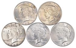 Lot (5) 1935 Peace Silver Dollars - Uncirculated