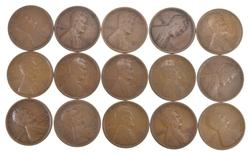 Lot (15) 1909-S Lincoln Wheat Cents