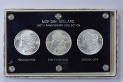 3 1878 Morgan Silver Dollars - P, S, CC - Slabbed With Box