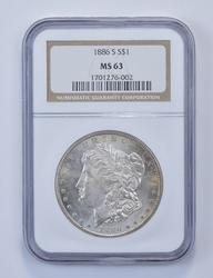 MS63 1886-S Morgan Silver Dollar - Graded NGC