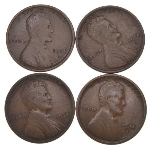 Lot (4) 1914-D Lincoln Wheat Cents