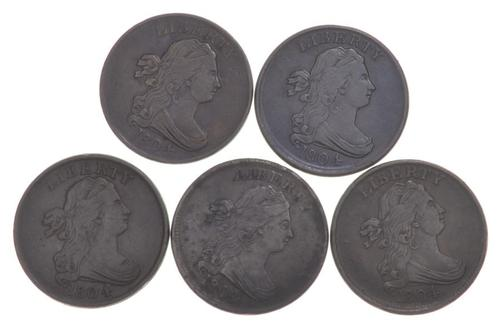 Lot (5) 1804 Draped Bust Half Cents