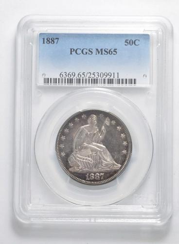 MS65 1887 Seated Liberty Half Dollar - PL Surface - Graded PCGS