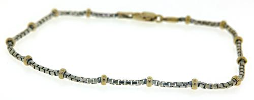 Box Chain with Bead Station Chain Bracelet