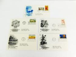 5 Official 1974 1st Day Issue Covers