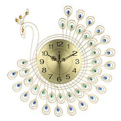 53x53cm Large 3D Gold Diamond Peacock Wall Clock