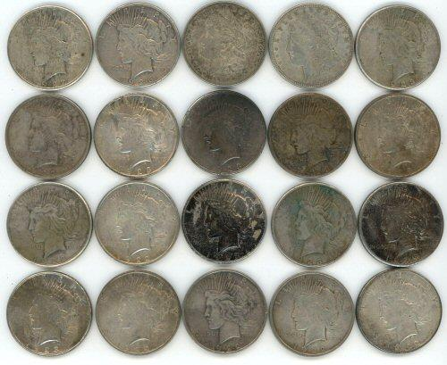 Roll of 20 assorted US Silver Dollars from the 1920's