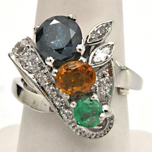 PLATINUM 2.50 CTW DIAMOND, YELLOW SAPHIRE AND EMERALD RING