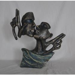 Kissing Man and Woman Cold Cast Sculpture