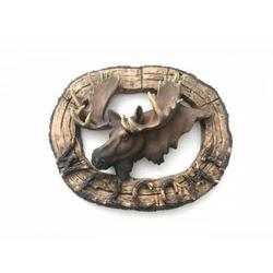 Moose Head Wildlife Trophy Head Wood Look Wall Art
