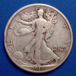 1916 Walking Half  Dollar, Circ