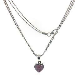 Tempting Pink Sapphire Heart Pendant Necklace