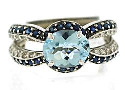 Vibrant 14kt Topaz & Sapphire Ring