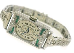 Vintage Synthetic Emerald and Diamond Watch
