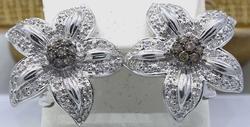 Massive Brown & White Diamond Flower Earrings