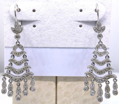 Cascading Diamond Dangle Earrings in White Gold