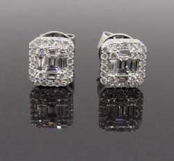 Cluster 18K White Gold Diamond Earrings