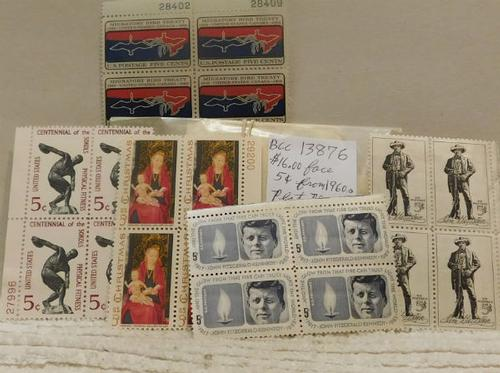 Stamp Blocks, 5 cent stamps from 1960s, $16.00 face