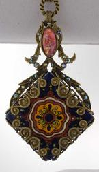 Filigree Talavera Tile Pendant Necklace