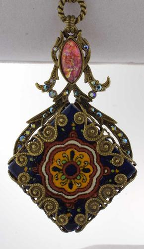 Filigree Talavera Tile Pendant Necklace