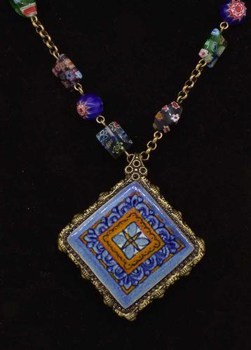 Millefiori Beads Talavera Tile Pendant