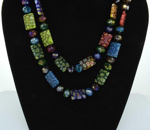 Long Millefiori Glass Rectangle Knotted Beads Necklace