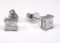 Luxurious 0.59CTW Square Diamond Earrings
