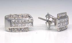 18KT Art-Deco Diamond J Earrings