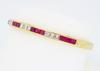 Diamond and Ruby Bangle Bracelet in 18K Yellow Gold