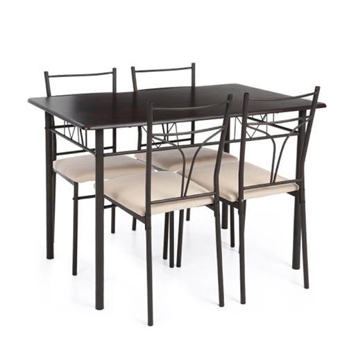 5PCS Modern Metal Frame Dining Kitchen Table Chairs Set