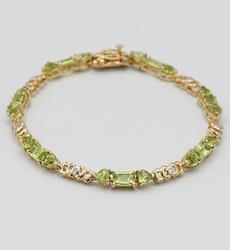Peridot and Diamond Sterling Silver Bracelet