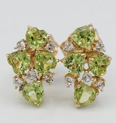 Peridot and White Topaz Sterling Earrings