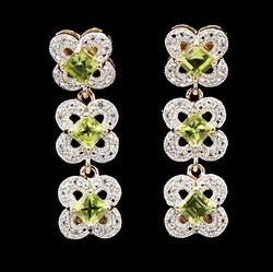 Peridot and White Topaz Sterling Dangle Earrings