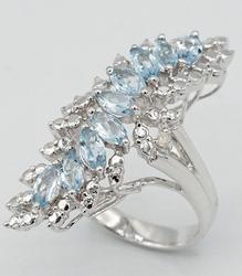 Aquamarine and Diamond Sterling Silver Fashion Ring