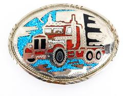 Large Vintage Truckers Belt Buckle - Turquoise & Coral