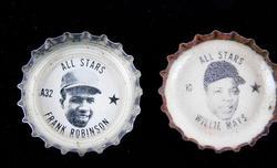 2 Coke 1967 Baseball Bottle Caps, Mays & Robinson