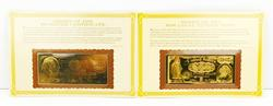 2 Replica 22KT Gold Foil Antique Bank Notes