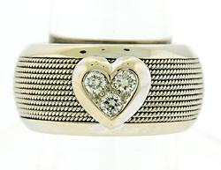 Modern Wide Ribbed Band w Diamond Heart