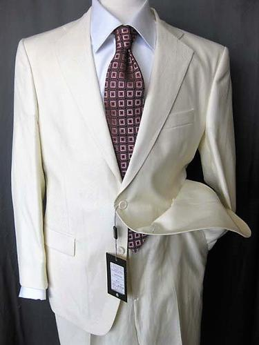 100% Linen Slim Fit Suit, Made In Italy