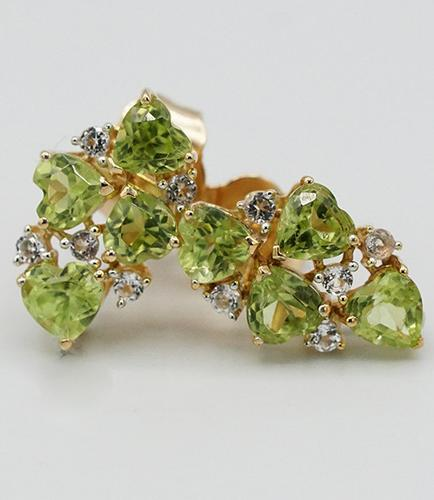 White Topaz and Peridot Sterling Silver Earrings