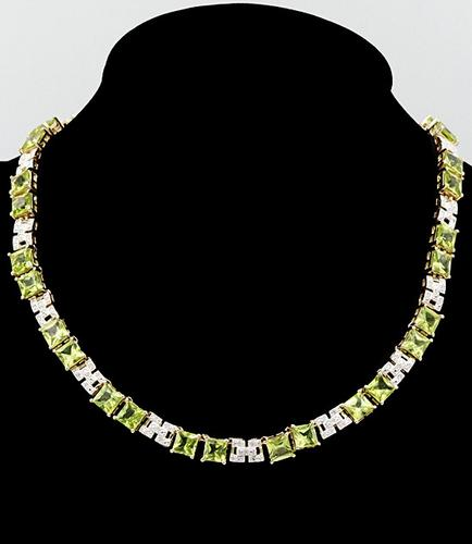 Peridot and Diamond Sterling Silver Necklace