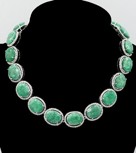 Green Beryl and Sapphire Sterling Silver Necklace