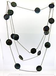 Sterling Silver Black Coin Pearl Necklace