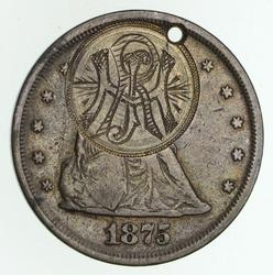 1875 Seated Liberty Twenty Cents Love Token *Hole - Circulated
