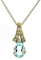 Pretty Blue Topaz and Diamond Necklace