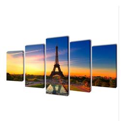 Canvas Wall Print Set Eiffel Tower 39 x 20 inches